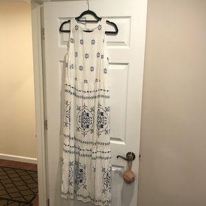 LOFT BLUE WHITE LONG DRESS